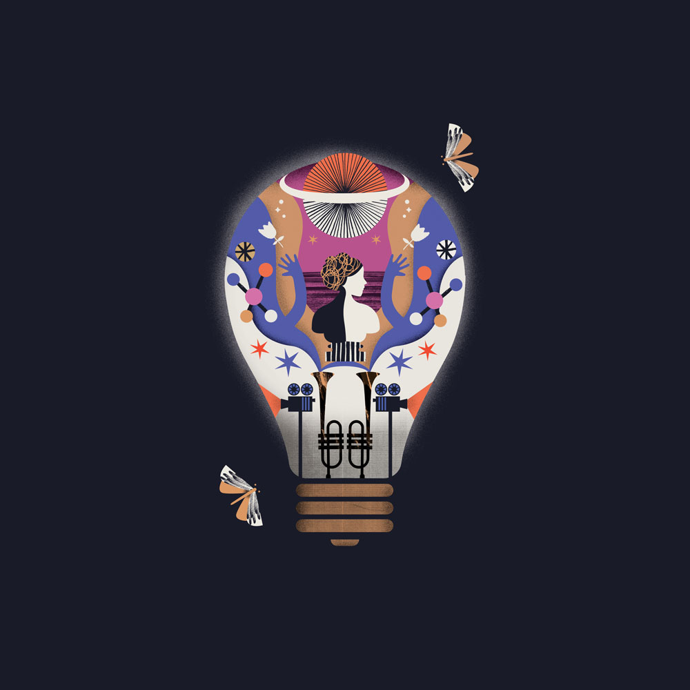A design of moths flying around a lightbulb full of exciting things