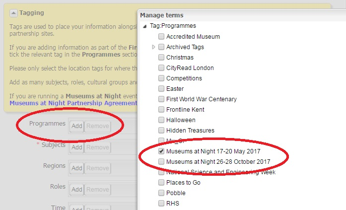 A screenshot of a database with red circles around Programmes and a Museums at Night tickbox