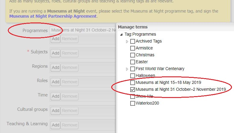 A screenshot of a database with Museums at Night programme tags circled in red