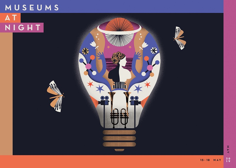 A design of moths flying around a lightbulb with the dates 15-18 May 2019